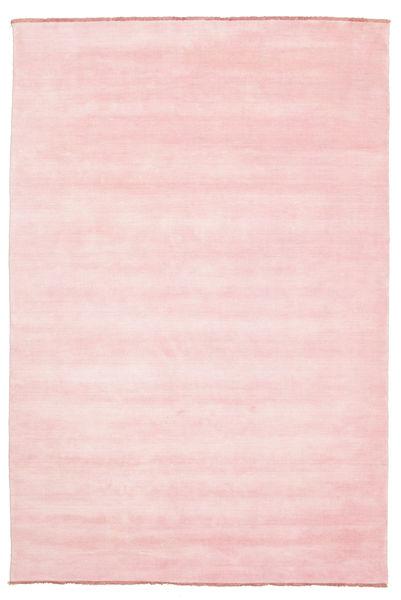 Handloom Fringes - Rosa Teppich  200X300 Moderner Hellrosa (Wolle, Indien)