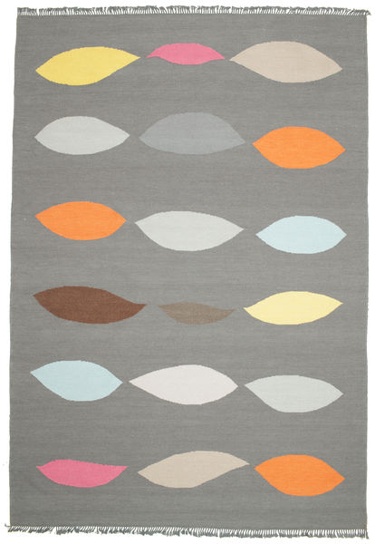 Leaves - Grau Teppich  220X320 Echter Moderner Handgewebter Dunkelgrau/Hellgrau (Wolle, Indien)
