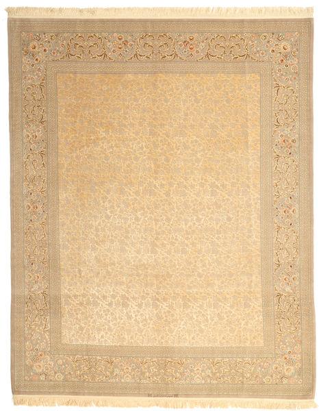 Isfahan Seidenkette Signatur: Dardashti Teppich  247X312 Echter Orientalischer Handgeknüpfter Dunkel Beige/Beige (Wolle/Seide, Persien/Iran)