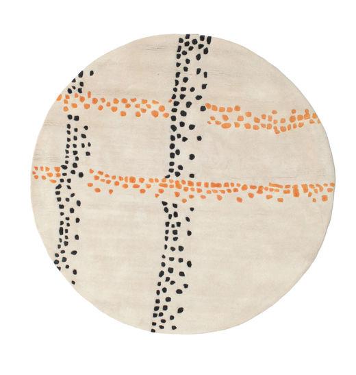 Delight Handtufted - Orange Teppich  Ø 150 Moderner Rund Beige/Hellgrau (Wolle, Indien)