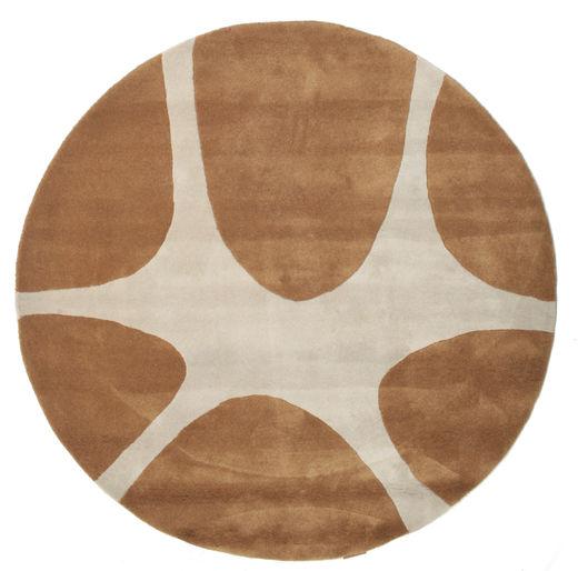 Stones Handtufted - Braun Teppich  Ø 150 Moderner Rund Braun/Hellgrau (Wolle, Indien)