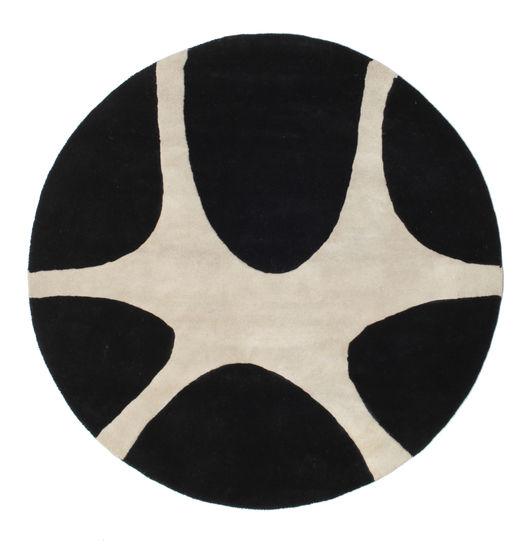 Stones Handtufted - Schwarz Teppich  Ø 150 Moderner Rund Schwartz/Hellgrau (Wolle, Indien)