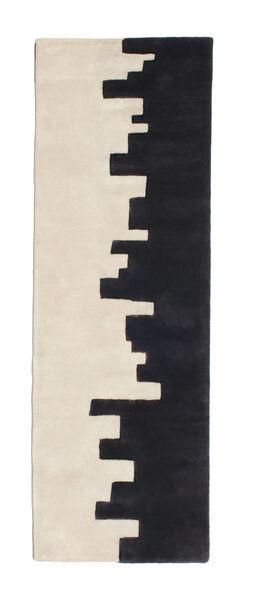 Little Town Handtufted Teppich  80X250 Moderner Läufer Dunkelblau/Beige (Wolle, Indien)