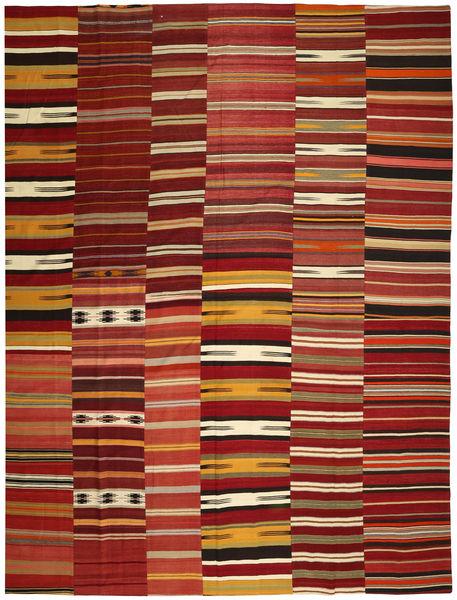 Kelim Patchwork Teppich  355X444 Echter Moderner Handgewebter Dunkelrot/Rot Großer (Wolle, Türkei)