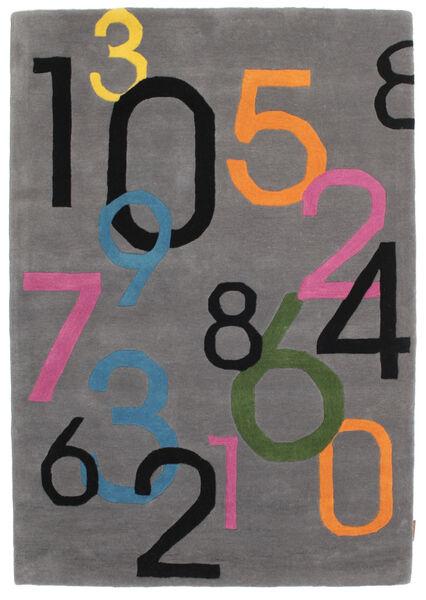 Lucky Numbers - Grau Teppich  120X180 Moderner Dunkelbraun/Schwartz (Wolle, Indien)