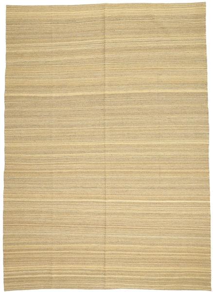 Kelim Modern Teppich  204X286 Echter Moderner Handgewebter Dunkel Beige/Beige (Wolle, Afghanistan)