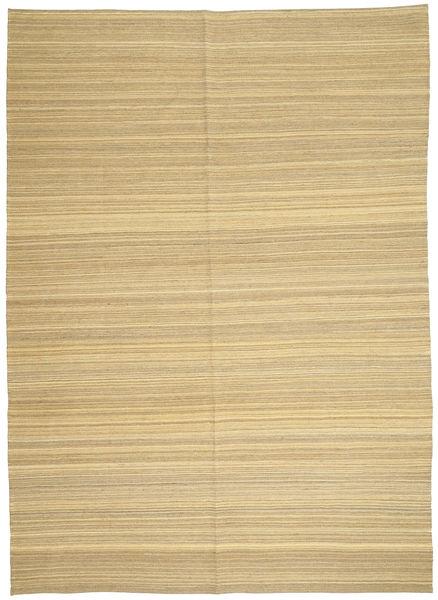 Kelim Modern Teppich  206X287 Echter Moderner Handgewebter Dunkel Beige/Beige (Wolle, Afghanistan)