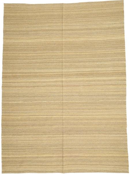 Kelim Modern Teppich  205X280 Echter Moderner Handgewebter Dunkel Beige/Hell Grün/Beige (Wolle, Afghanistan)
