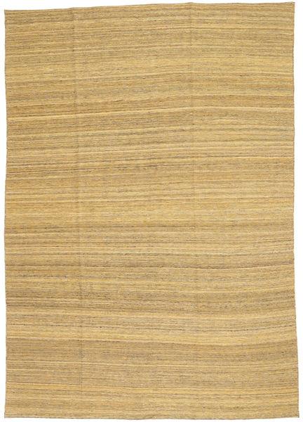 Kelim Modern Teppich  199X283 Echter Moderner Handgewebter Dunkel Beige/Hellbraun (Wolle, Afghanistan)
