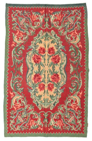 Kelim Rosen Moldavia Teppich  154X242 Echter Orientalischer Handgewebter Rost/Rot/Olivgrün (Wolle, Moldawien)