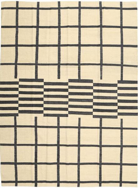 Kelim Modern Teppich  210X285 Echter Moderner Handgewebter Beige/Schwartz (Wolle, Afghanistan)
