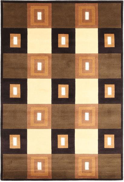 Himalaya Teppich  138X205 Echter Moderner Handgeknüpfter Braun/Schwartz (Wolle, Indien)