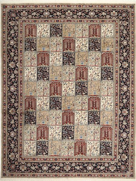 Yazd Teppich  302X393 Echter Orientalischer Handgeknüpfter Hellgrau/Hellbraun Großer (Wolle, Persien/Iran)