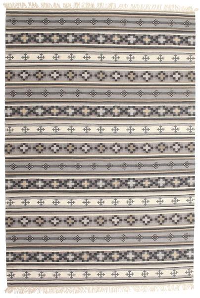 Kelim Cizre Teppich  190X290 Echter Moderner Handgewebter Hellgrau/Beige (Wolle, Indien)