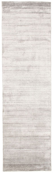Bambus Seide Loom - Warm Grau Teppich  80X300 Moderner Läufer Hellgrau/Weiß/Creme ( Indien)