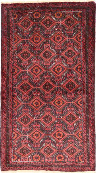 Belutsch Teppich  105X186 Echter Orientalischer Handgeknüpfter Dunkelrot/Rost/Rot (Wolle, Persien/Iran)