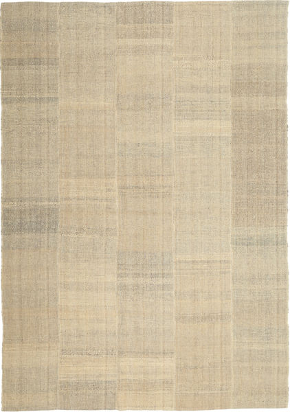 Kelim Modern Teppich  205X301 Echter Moderner Handgewebter Hellgrau/Dunkel Beige/Beige (Wolle, Persien/Iran)