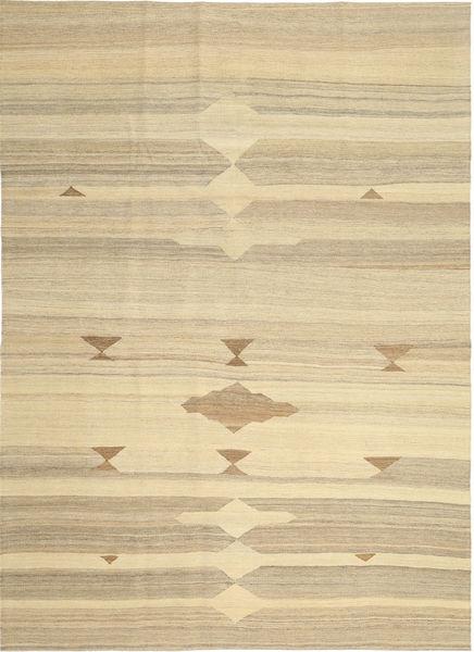 Kelim Modern Teppich  212X296 Echter Moderner Handgewebter Beige/Dunkel Beige (Wolle, Persien/Iran)