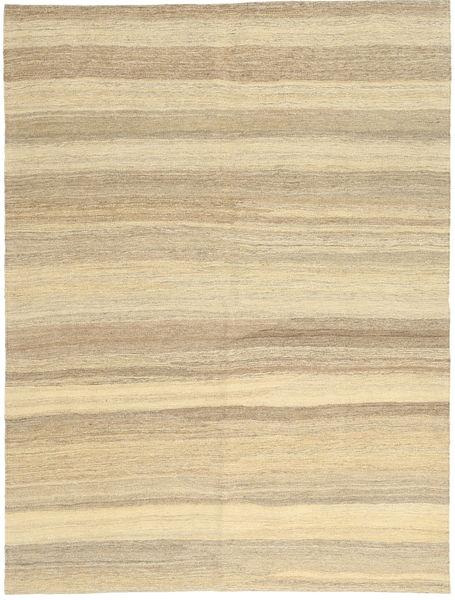 Kelim Modern Teppich  154X204 Echter Moderner Handgewebter Gelb/Dunkel Beige (Wolle, Persien/Iran)