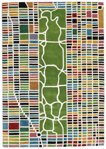 New-York/Manhattan Handtufted - Multi Teppich  140X200 Moderner Beige/Olivgrün (Wolle, Indien)