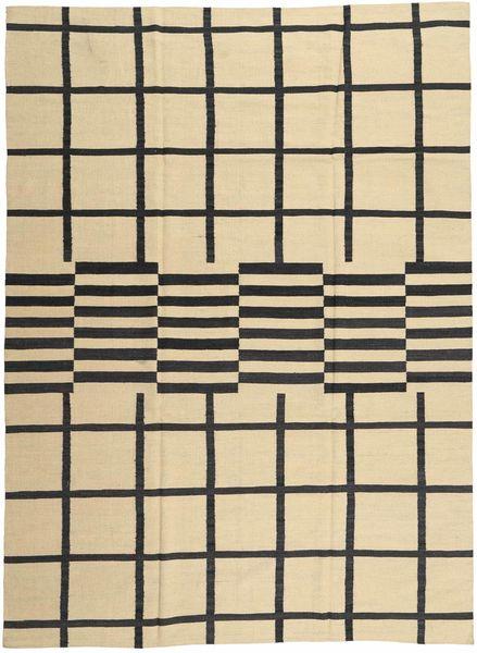 Kelim Modern Teppich  209X286 Echter Moderner Handgeknüpfter Beige/Dunkelgrau (Wolle, Afghanistan)