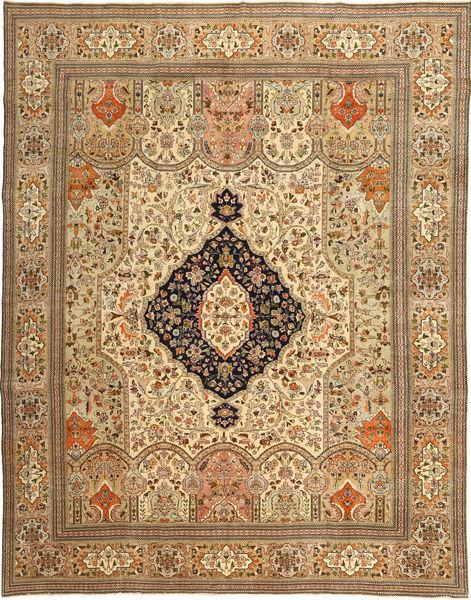 Täbriz Patina Tabatabi Teppich  295X390 Echter Orientalischer Handgeknüpfter Hellbraun/Dunkel Beige Großer (Wolle, Persien/Iran)