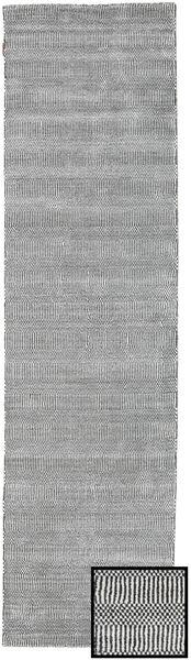 Bambus Grass - Black_ Grau Teppich  80X290 Moderner Läufer Hellgrau/Hell Grün (Wolle/Bambus-Seide, Türkei)
