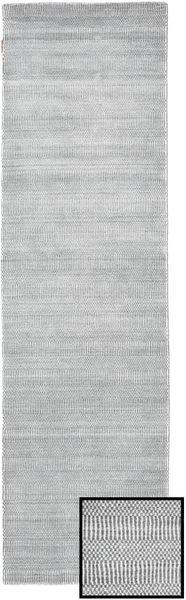 Bambus Grass - Grau Teppich  80X290 Moderner Läufer Hellgrau/Weiß/Creme (Wolle/Bambus-Seide, Türkei)