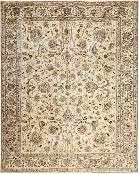 Täbriz Patina Teppich  303X380 Echter Orientalischer Handgeknüpfter Braun/Dunkel Beige Großer (Wolle, Persien/Iran)