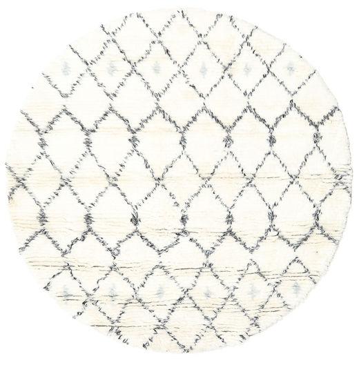 Sauda - Natural Grau Teppich  Ø 150 Echter Moderner Handgeknüpfter Rund Beige/Weiß/Creme (Wolle, Indien)