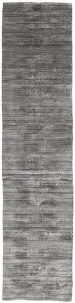 Bambus Grass - Black_ Grau Teppich  80X340 Moderner Läufer Hellgrau/Dunkelgrau (Wolle/Bambus-Seide, Indien)