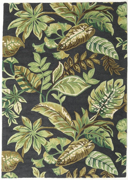 Jungel - Grün/Schwarz Teppich  160X230 Moderner Dunkelgrün/Hell Grün/Dunkelgrau (Wolle, Indien)