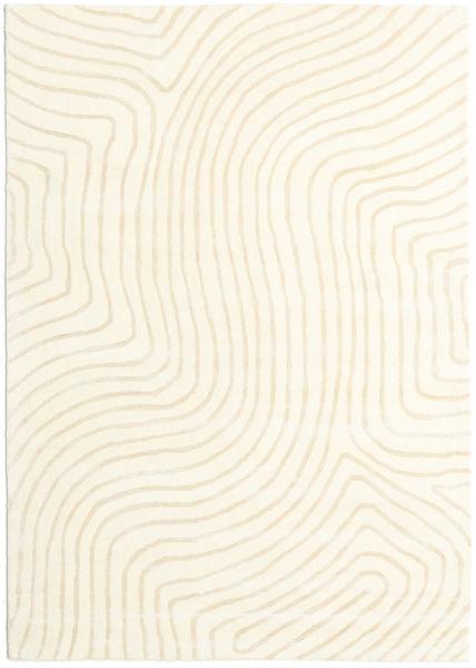 Woodyland - Beige Teppich  160X230 Moderner Beige/Weiß/Creme (Wolle, Indien)