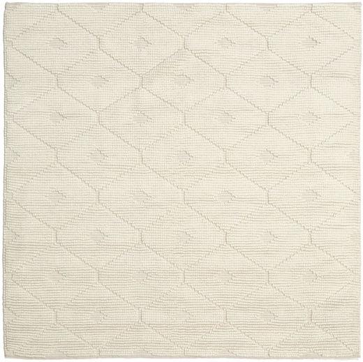 Romby - Off-Weiß Teppich  200X200 Echter Moderner Handgewebter Quadratisch Beige/Dunkel Beige (Wolle, Indien)