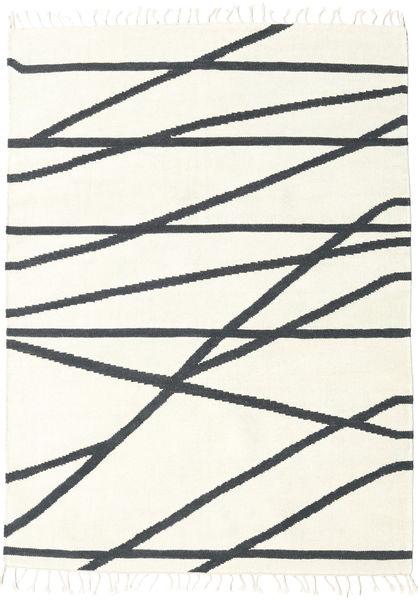 Cross Lines - Naturweiß/Schwarz Teppich  160X230 Echter Moderner Handgewebter Beige/Dunkelgrau (Wolle, Indien)
