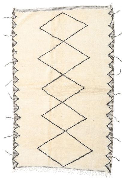 Berber Moroccan - Beni Ourain Teppich  160X255 Echter Moderner Handgeknüpfter Läufer Beige/Weiß/Creme (Wolle, Marokko)