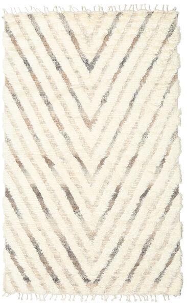 Barchi/Moroccan Berber - Indisch Teppich  154X250 Echter Moderner Handgeknüpfter Beige/Weiß/Creme (Wolle, Indien)
