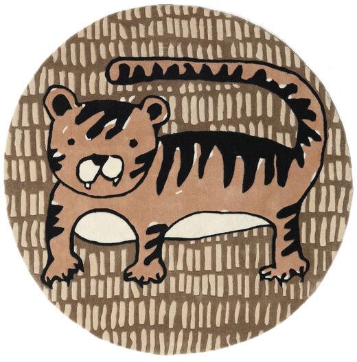 Cool Cat - Beige Teppich  Ø 150 Moderner Rund Braun/Hellbraun (Wolle, Indien)