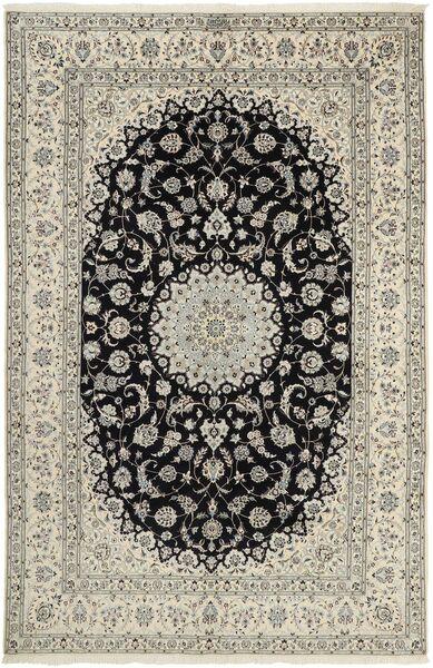 Nain 6La Teppich  207X320 Echter Orientalischer Handgeknüpfter Hellgrau/Dunkelgrau (Wolle/Seide, Persien/Iran)