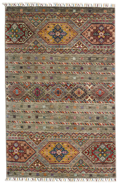 Shabargan Teppich  103X158 Echter Moderner Handgeknüpfter Olivgrün/Dunkelgrau (Wolle, Afghanistan)