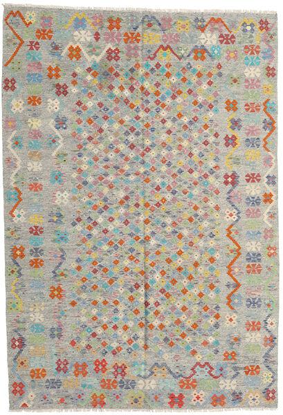 Kelim Afghan Old Style Teppich  205X296 Echter Orientalischer Handgewebter Hellgrau/Hellbraun (Wolle, Afghanistan)