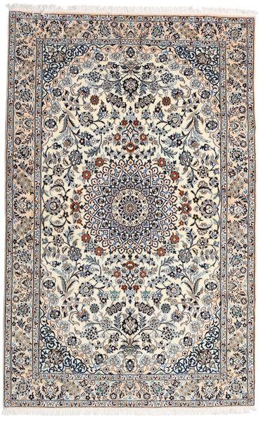 Nain 9La Teppich  160X251 Echter Orientalischer Handgeknüpfter Hellgrau/Weiß/Creme (Wolle/Seide, Persien/Iran)