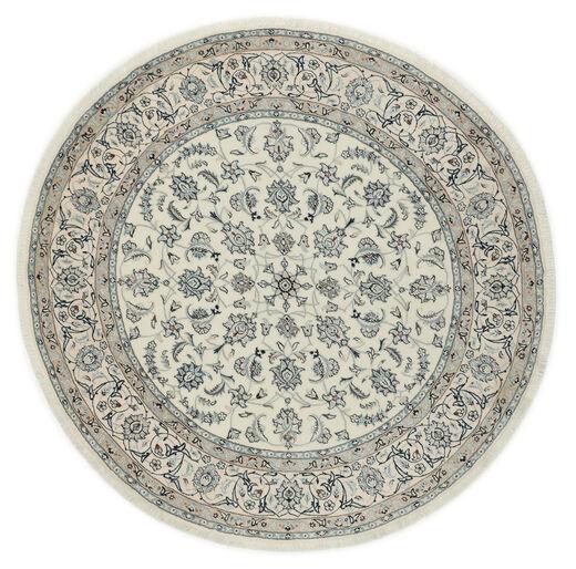 Nain 9La Teppich  Ø 200 Echter Orientalischer Handgeknüpfter Rund Hellgrau/Dunkelgrau (Wolle/Seide, Persien/Iran)