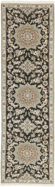 Nain 9La Teppich  81X291 Echter Orientalischer Handgeknüpfter Läufer Hellgrau/Dunkelgrau (Wolle/Seide, Persien/Iran)
