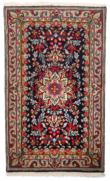 Kerman Teppich  94X156 Echter Orientalischer Handgeknüpfter Dunkelblau/Dunkelrot (Wolle, Persien/Iran)