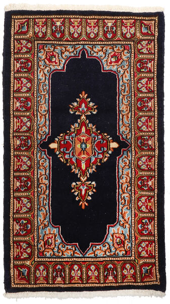 Kerman Teppich  89X158 Echter Orientalischer Handgeknüpfter Dunkelbraun/Dunkelrot (Wolle, Persien/Iran)