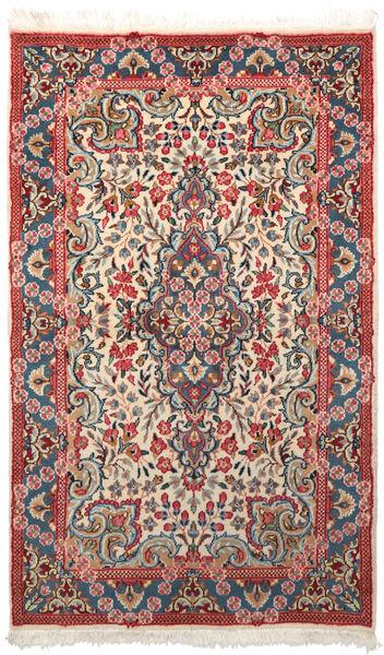 Kerman Teppich  88X147 Echter Orientalischer Handgeknüpfter Dunkelgrau/Dunkelrot (Wolle, Persien/Iran)