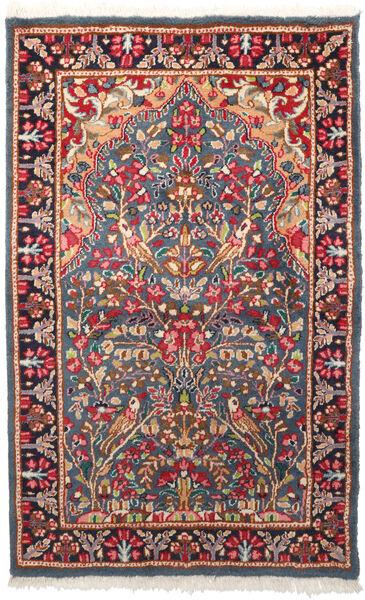Kerman Teppich  95X155 Echter Orientalischer Handgeknüpfter Dunkelgrau/Rost/Rot (Wolle, Persien/Iran)