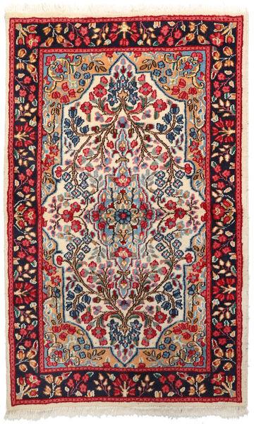 Kerman Teppich  92X151 Echter Orientalischer Handgeknüpfter Dunkelrot/Beige (Wolle, Persien/Iran)