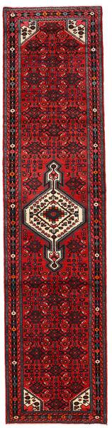 Hosseinabad Teppich  80X260 Echter Orientalischer Handgeknüpfter Läufer Rot/Dunkelrot/Dunkelbraun (Wolle, Persien/Iran)